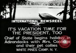 Image of President Coolidge at White Pine Campo Paul Smiths New York USA, 1926, second 5 stock footage video 65675068973