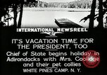 Image of President Coolidge at White Pine Campo Paul Smiths New York USA, 1926, second 9 stock footage video 65675068973