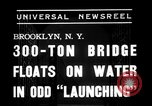 Image of 300 ton bridge Brooklyn New York City USA, 1938, second 2 stock footage video 65675069224