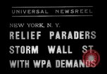 Image of demonstrators seek unemployment relief New York City USA, 1938, second 2 stock footage video 65675069225