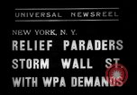Image of demonstrators seek unemployment relief New York City USA, 1938, second 5 stock footage video 65675069225
