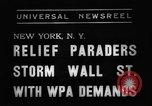 Image of demonstrators seek unemployment relief New York City USA, 1938, second 7 stock footage video 65675069225