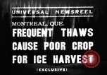 Image of ice harvest Montreal Quebec Canada, 1938, second 1 stock footage video 65675069229