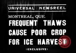 Image of ice harvest Montreal Quebec Canada, 1938, second 2 stock footage video 65675069229