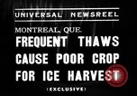 Image of ice harvest Montreal Quebec Canada, 1938, second 7 stock footage video 65675069229