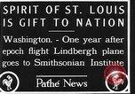 Image of Spirit of Saint Louis Washington DC USA, 1928, second 9 stock footage video 65675070310