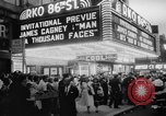 "Image of invitational preview of film ""Man of a Thousand Faces"" New York United States USA, 1957, second 7 stock footage video 65675070397"