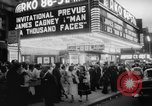 """Image of invitational preview of film """"Man of a Thousand Faces"""" New York United States USA, 1957, second 8 stock footage video 65675070397"""