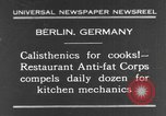 Image of calisthenics for cooks Berlin Germany, 1931, second 1 stock footage video 65675070931