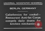 Image of calisthenics for cooks Berlin Germany, 1931, second 9 stock footage video 65675070931