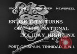 Image of costumed and native dress parade Port of Spain Trinidad, 1932, second 8 stock footage video 65675070935