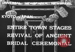 Image of bridal ceremony Kyoto Japan, 1932, second 2 stock footage video 65675070959