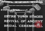Image of bridal ceremony Kyoto Japan, 1932, second 10 stock footage video 65675070959