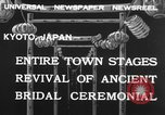 Image of bridal ceremony Kyoto Japan, 1932, second 12 stock footage video 65675070959