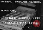 Image of spider in clock Akron Ohio USA, 1932, second 4 stock footage video 65675070961