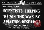 Image of aviation research in World War 2 Ottawa Ontario Canada, 1941, second 1 stock footage video 65675071401