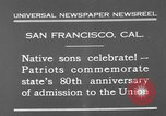 Image of anniversary of admission to Union San Francisco California USA, 1930, second 2 stock footage video 65675071706