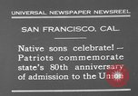 Image of anniversary of admission to Union San Francisco California USA, 1930, second 3 stock footage video 65675071706