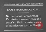 Image of anniversary of admission to Union San Francisco California USA, 1930, second 4 stock footage video 65675071706