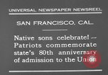 Image of anniversary of admission to Union San Francisco California USA, 1930, second 7 stock footage video 65675071706