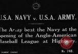 Image of Army versus Navy baseball in Anglo American Baseball League London England United Kingdom, 1917, second 2 stock footage video 65675072434