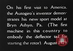 Image of autogyro Bryn Athyn Pennsylvania USA, 1929, second 10 stock footage video 65675072958