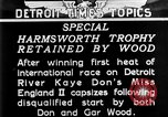 Image of speedboat racing Detroit Michigan USA, 1931, second 1 stock footage video 65675073336