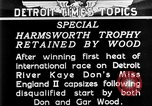 Image of speedboat racing Detroit Michigan USA, 1931, second 2 stock footage video 65675073336