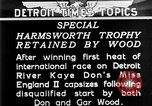 Image of speedboat racing Detroit Michigan USA, 1931, second 10 stock footage video 65675073336