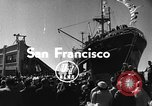 Image of Merchant vessel at San Francisco harbor San Francisco California USA, 1954, second 1 stock footage video 65675073516