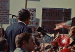 Image of Richard Nixon speaks to automobile workers during energy crisis Saginaw Michigan USA, 1974, second 6 stock footage video 65675073721