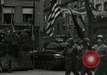 Image of Troops of US 2nd Armored Division parade in Belgian town Hasselt Belgium, 1945, second 9 stock footage video 65675074330