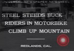 Image of motorbike hill climb contest Redlands California USA, 1930, second 1 stock footage video 65675075544