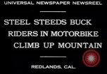 Image of motorbike hill climb contest Redlands California USA, 1930, second 2 stock footage video 65675075544