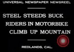 Image of motorbike hill climb contest Redlands California USA, 1930, second 3 stock footage video 65675075544