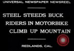 Image of motorbike hill climb contest Redlands California USA, 1930, second 4 stock footage video 65675075544