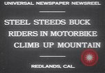 Image of motorbike hill climb contest Redlands California USA, 1930, second 5 stock footage video 65675075544