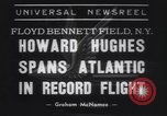 Image of Howard Hughes flight to Paris New York United States USA, 1938, second 1 stock footage video 65675075739
