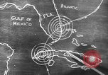 Image of Sketch of forecast hurricane track Caribbean, 1951, second 2 stock footage video 65675076422