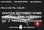 Image of Herbert Clark Hoover Palo Alto California USA, 1933, second 4 stock footage video 65675076528