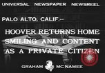Image of Herbert Clark Hoover Palo Alto California USA, 1933, second 6 stock footage video 65675076528