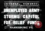 Image of unemployed people seeking aid Harrisburg Pennsylvania USA, 1936, second 1 stock footage video 65675076828