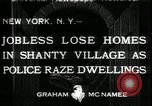 Image of shanty village cleared by police New York United States USA, 1933, second 1 stock footage video 65675076833
