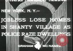 Image of shanty village cleared by police New York United States USA, 1933, second 2 stock footage video 65675076833