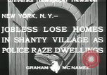 Image of shanty village cleared by police New York United States USA, 1933, second 5 stock footage video 65675076833