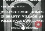 Image of shanty village cleared by police New York United States USA, 1933, second 7 stock footage video 65675076833