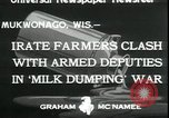 Image of Dairy farmers protest prices and dump milk Mukwonago Wisconsin USA, 1933, second 2 stock footage video 65675076834