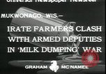 Image of Dairy farmers protest prices and dump milk Mukwonago Wisconsin USA, 1933, second 4 stock footage video 65675076834