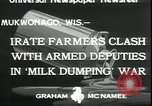 Image of Dairy farmers protest prices and dump milk Mukwonago Wisconsin USA, 1933, second 6 stock footage video 65675076834