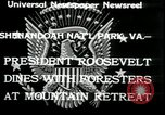 Image of Franklin D Roosevelt with CCC members Virginia United States USA, 1933, second 2 stock footage video 65675076837